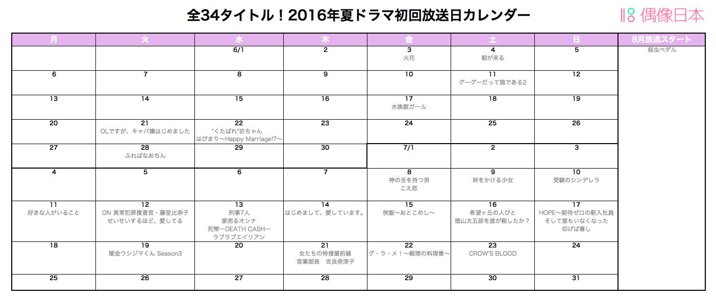 2016年夏ドラマカレンダー ドラマのスケジュールをいっぺんに確認できる