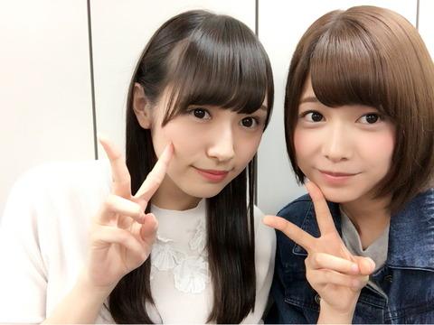 渡边理佐的微博里面与渡辺梨加的合影照。