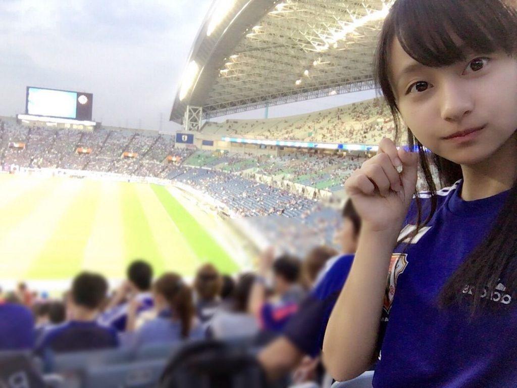 公式ブログに投稿された写真。日本vsUAE戦を観戦した時のものだという。