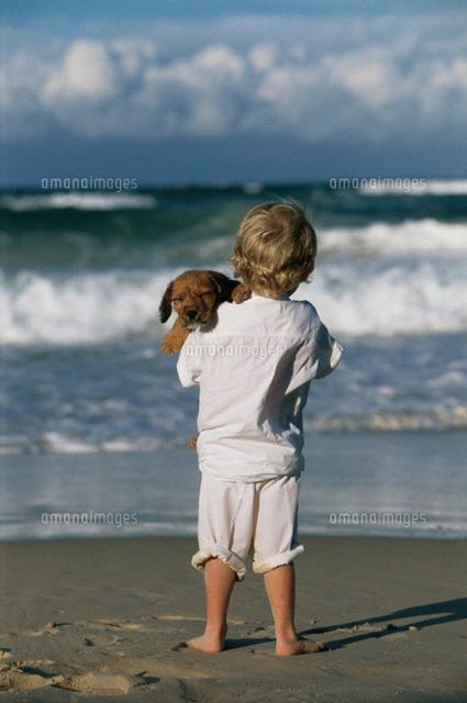 海岸でイヌを抱く外国人子供の後姿(c)KO.FUJIWARA