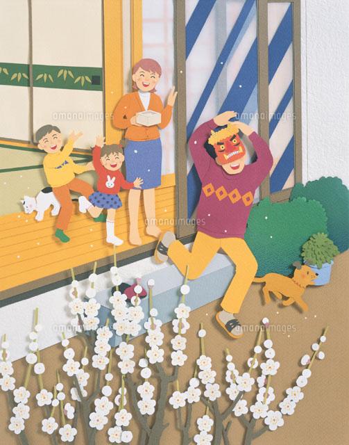 4人家族の節分 イラスト (c)MASAYOSHI ETO