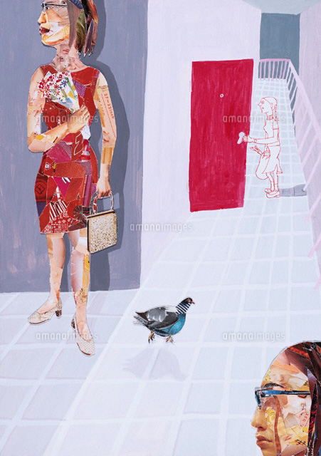 通路にいる3人の女性とハト コラージュ (c)SHINKO OKUHARA