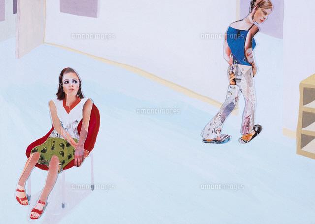 部屋にいる2人の女性 コラージュ (c)SHINKO OKUHARA