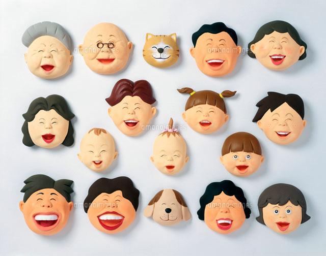立体 老若男女が笑っている顔 (c)Misao Takahashi/ARTBANK