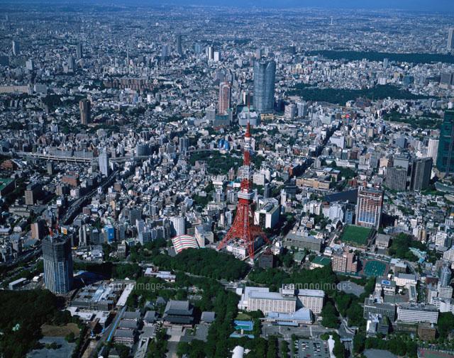 東京タワー周辺のビル群の風景 空撮 東京都[02289000010]| 写真 ...