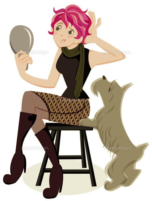 イスに座って鏡を見ている女性と犬 (c)Asterisk
