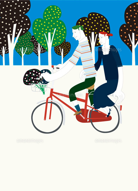 自転車の 自転車 二人乗り : 自転車に二人乗りするカップル ...