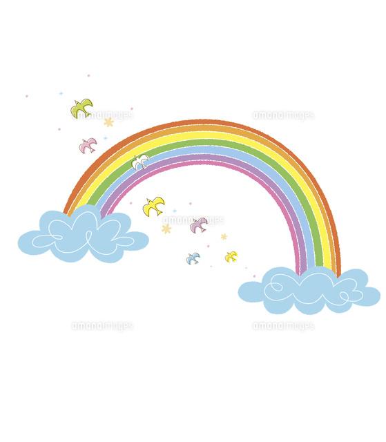 雲と虹と鳥 (c)Asterisk