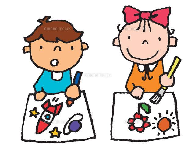 並んでお絵かきをする男の子と ... : 英語 子供 教材 無料 : 子供