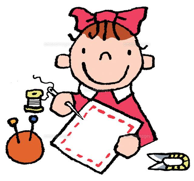 裁縫をしている女の子[02482000021 ... : 子供 英語 教材 無料 : 子供