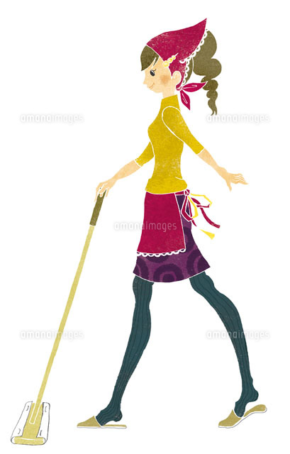 掃除をしている女性 (c)megumi masubuchi