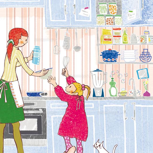 キッチンにいる親子 (c)megumi masubuchi