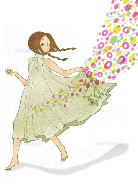 スカートの裾をさばく女性 (c)megumi masubuchi
