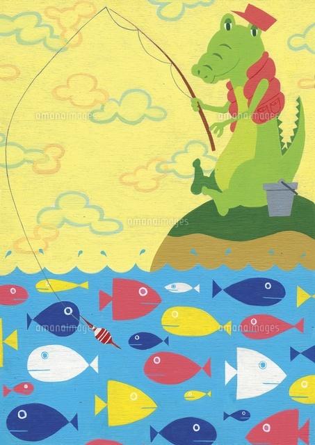 釣りをしているワニ (c)megumi masubuchi