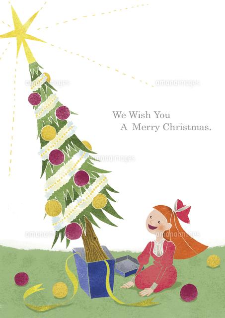 プレゼントから飛び出したクリスマスツリーと女の子 (c)megumi masubuchi