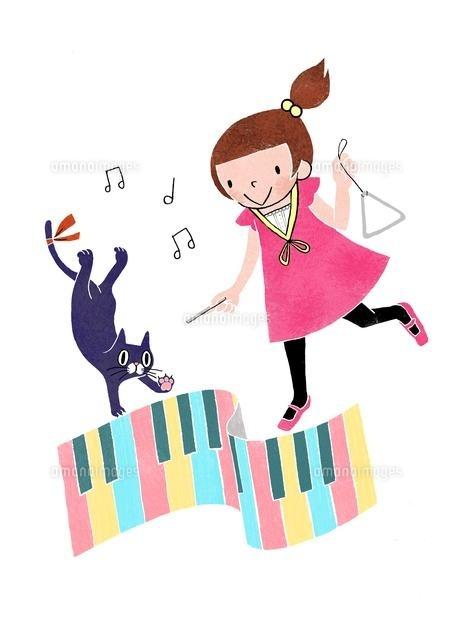 音楽を楽しむ女の子と黒猫 (c)megumi masubuchi