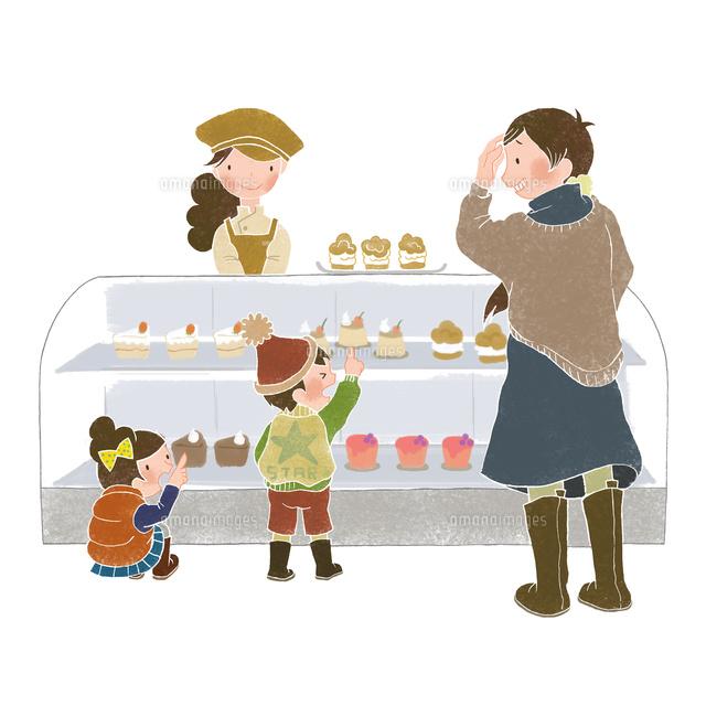 ケーキ屋さんでお買い物、母と子供、店員さん (c)megumi masubuchi