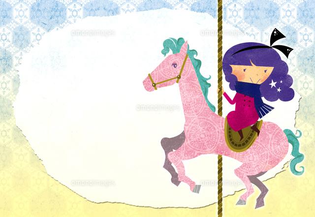 木馬に乗った女の子 (c)megumi masubuchi