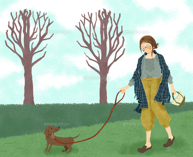 犬の散歩をする女性 (c)megumi masubuchi