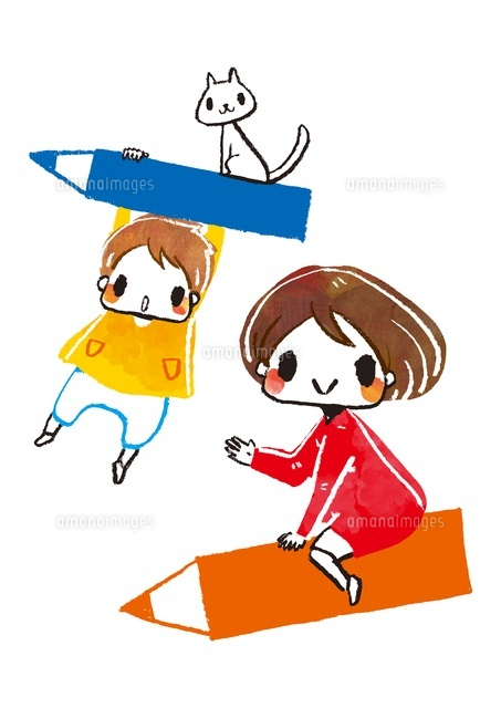 空飛ぶエンピツと女の子と男の子と猫 (c)Asako Hashi