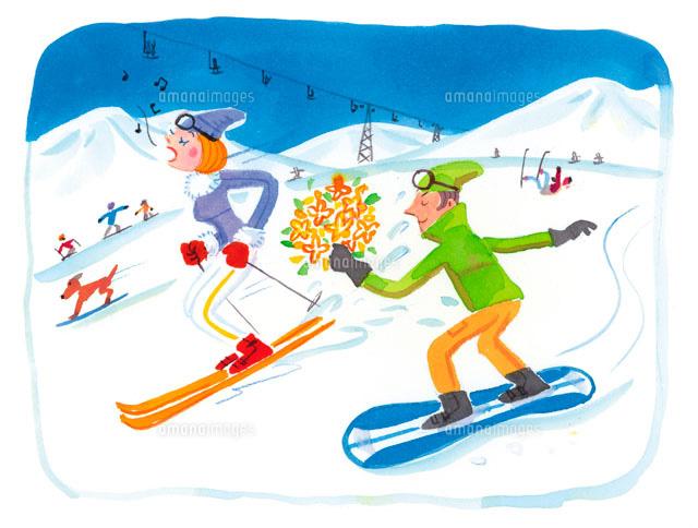 スキー場でスキーとスノーボードで滑る男女 (c)arc image gallery