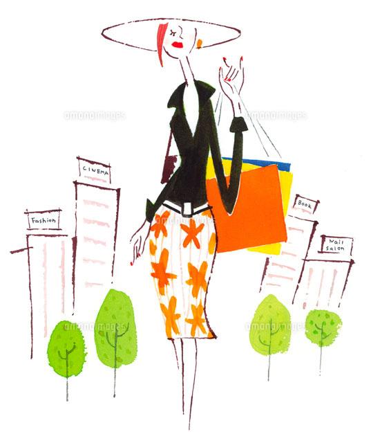 ショッピングバッグを持った女性 (c)arc image gallery