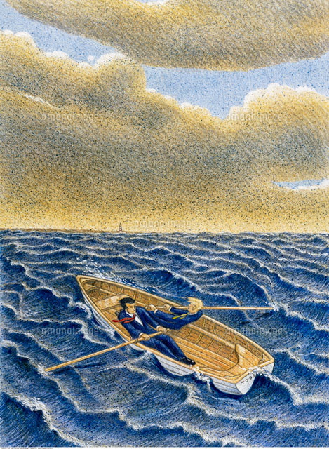 Illustration of Businessmen in Rowboat on Rough Waters (c)Thomas Dannenberg/Masterfile