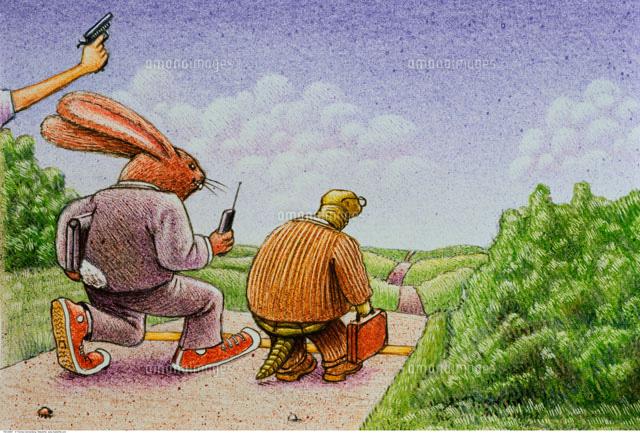 Illustration of Tortoise and Hare As Businessmen (c)Thomas Dannenberg/Masterfile