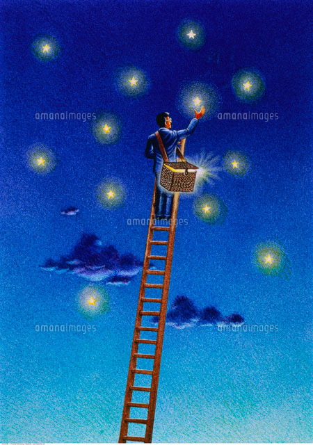 Illustration of Businessman on Ladder Collecting Stars in Ba (c)Thomas Dannenberg/Masterfile