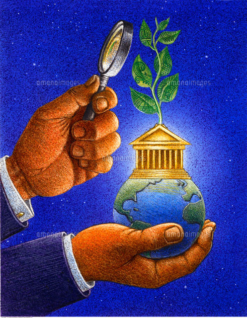 Illustration of Hand Holding Magnifying Glass and Earth with (c)Thomas Dannenberg/Masterfile