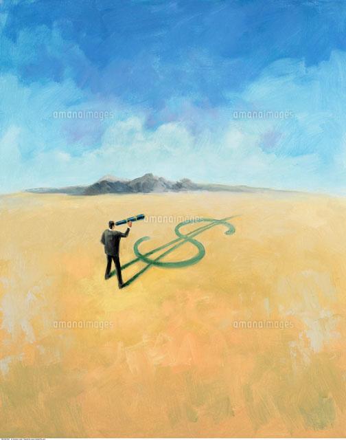Businessman in Desert Looking Through Telescope (c)Andrew Judd/Masterfile