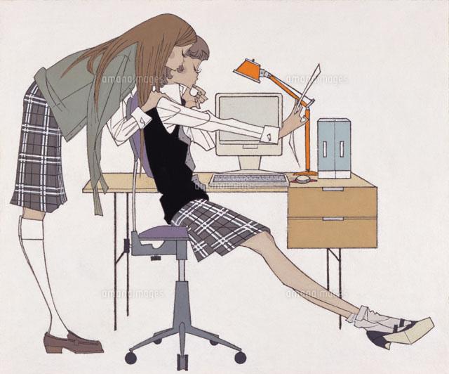 制服姿の女性2人 (c)竹野浩之/WAHA
