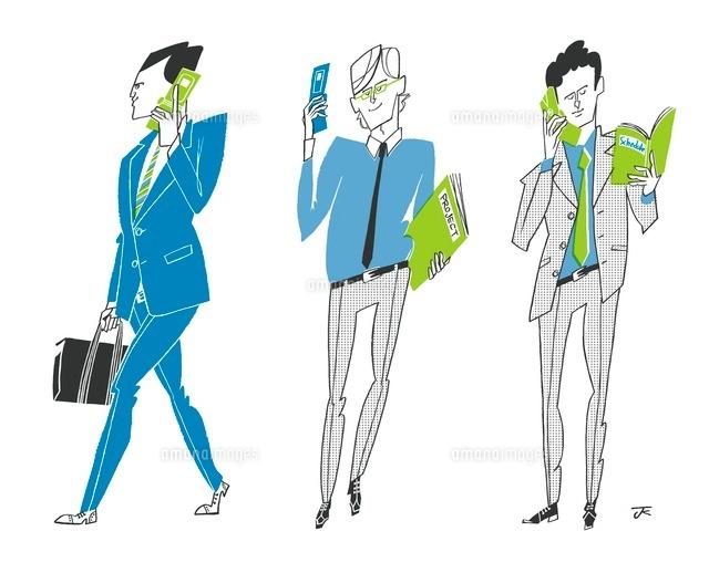 携帯を使う3人のビジネスマン (c)岸潤一/WAHA