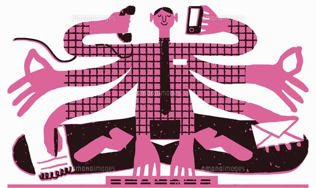 Serene businessman multitasking in lotus position (c)Nick Shepherd/Ikon Images