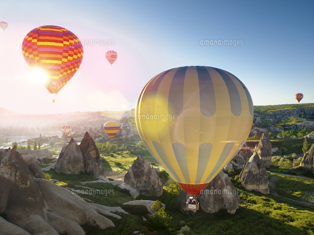 Hot air balloons in Zemi Valley, Cappadocia, Anatolia, Turkey