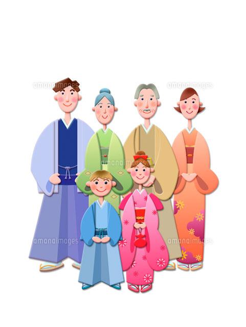 正月の家族 イラスト (c)AT images/orion