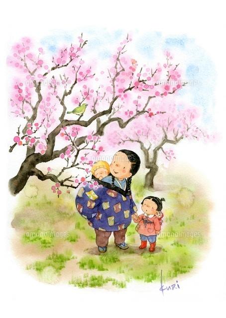 梅の木と親子 (c)Image Eye/orion