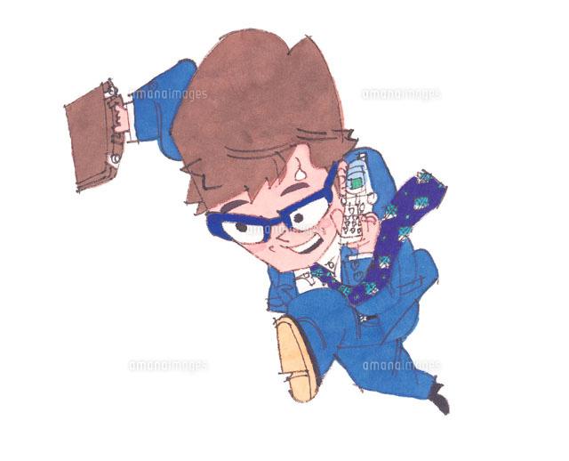携帯電話をしながら走るサラリーマン イラスト (c)orion