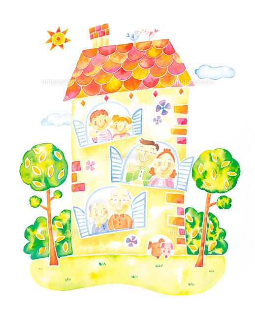 ファミリーと家のイメージ イラスト (c)orion