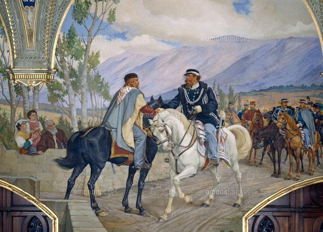 "The ""Handshake of Teano"" between Giuseppe Garibaldi and Vi"