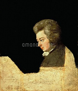 ALI162959 Portrait of Wolfgang Amadeus Mozart (1756-91) at the Piano, 1789 (oil on canvas) by Lange,