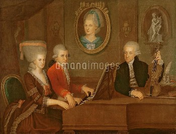 ALI180403 The Mozart family, 1780-81 (oil on canvas) by Croce, Johann Nepomuk della (1736-1819); Moz