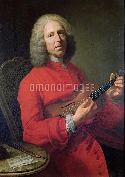 XIR121768 Jean-Philippe Rameau (1683-1764) with a Violin (oil on canvas) by Aved, Jacques Andre Jose