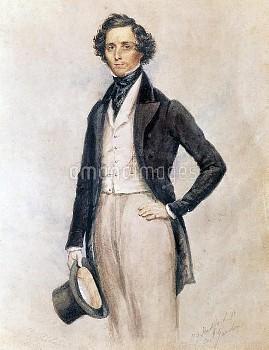 DGA767300 Portrait of Felix Mendelssohn Bartholdy (Hamburg, 1809-Leipzig, 1847), German composer, co