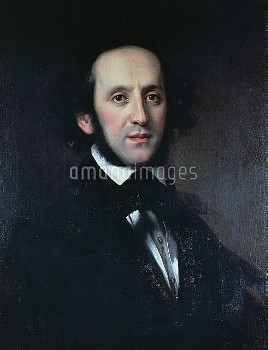 Portrait of the composer and conductor Felix Mendelssohn (Hamburg, 1809-Leipzig, 1847), 1856, painti