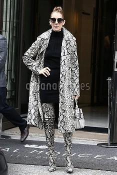 セリーヌ・ディオン Celine Dion leaves the Royal Monceau Hotel in Paris wearing a crazy monochrome snakeskin o