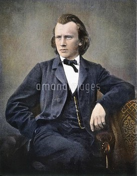 JOHANNES BRAHMS (1833-1897). German composer. Oil over a photograph.