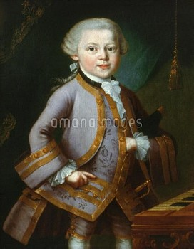 WOLFGANG AMADEUS MOZART (1756-1791). Austrian composer. Mozart at age 7. Oil on canvas, 1763, attrib