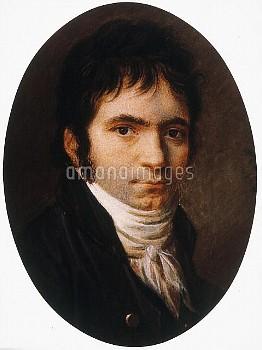 LUDWIG van BEETHOVEN (1770-1827). German composer. Miniature, 1803, by Christian Horneman.