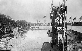 OLYMPIC GAMES, 1912. The 100 meter swim event at the 5th Olympic Games, held in Stockholm, Sweden, 1